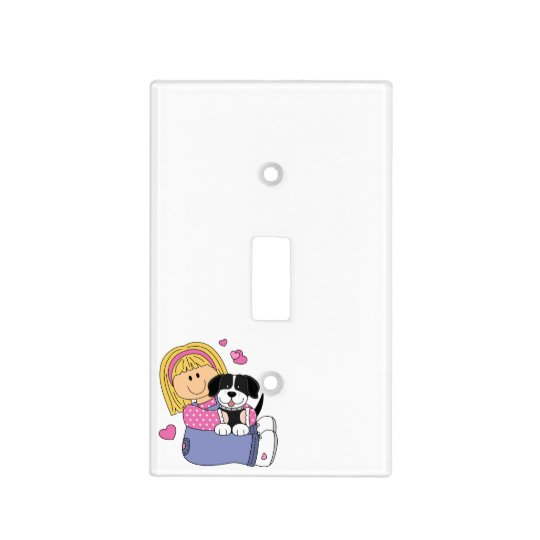 Girl Loves Puppy Light Switch Cover
