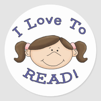 Girl Loves to Read Classic Round Sticker