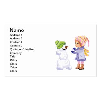 Girl Making A Snowman Business Card Template