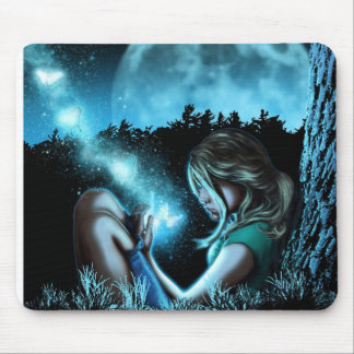 Girl making butterflies mouse pad