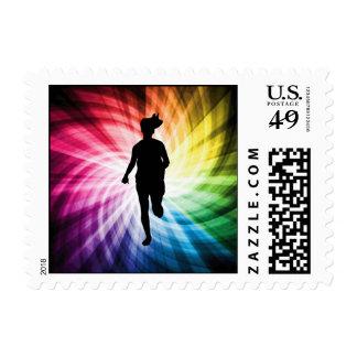 Girl Marathon Runner Stamp