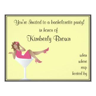 """Girl/Martini Glass Bachelorette Party Invitation 4.25"""" X 5.5"""" Invitation Card"""