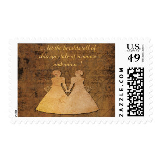 Girl Meets Girl Lesbian Wedding Brides Stamp