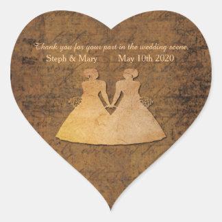 Girl Meets Girl Lesbian Wedding Heart Sticker