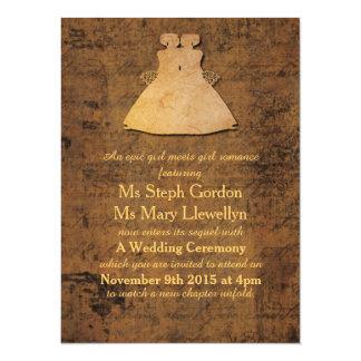 Girl Meets Girl Lesbian Wedding Invitation