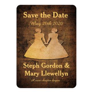 Girl Meets Girl Save the Date Card Lesbian Wedding