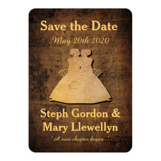 "Girl Meets Girl Save the Date Card Lesbian Wedding 4.5"" X 6.25"" Invitation Card"