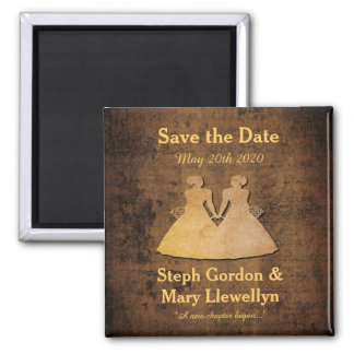 Girl Meets Girl Save the Date Magnet Gay Wedding