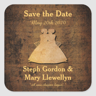 Girl Meets Girl Save the Date Sticker Gay Wedding Square Sticker