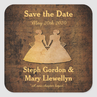 Girl Meets Girl Save the Date Sticker Gay Wedding