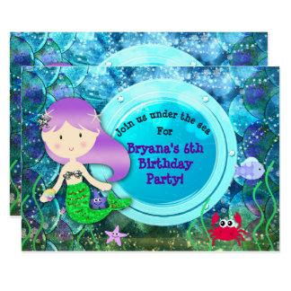 Girl Mermaid Birthday Party Under the Sea Beach Card
