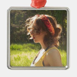 girl metal ornament