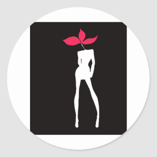Girl  model Flower Black Classic Round Sticker