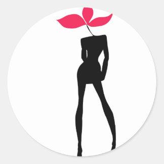 Girl  model Flower Classic Round Sticker