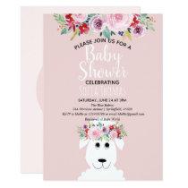 Girl Modern Watercolor Lamb & Flowers Baby Shower Invitation