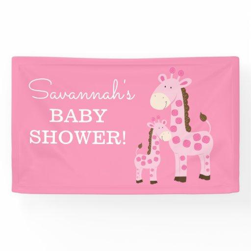 Girl Mommy and Baby Giraffe Shower Banner Pink