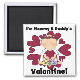 Girl Mommy and Daddy's Valentine Tshirts Fridge Magnets