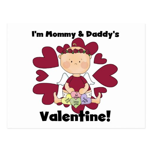 Girl Mommy and Daddy's Valentine Tshirts Postcard