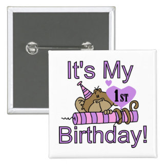 Girl Monkey 1st Birthday Tshirts and Gifts Pinback Button