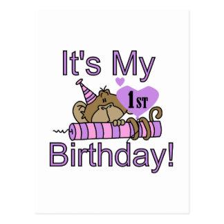 Girl Monkey 1st Birthday Tshirts and Gifts Postcard