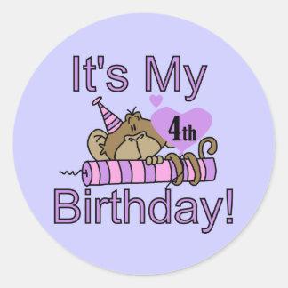 Girl Monkey 4th Birthday Tshirts and Gifts Classic Round Sticker