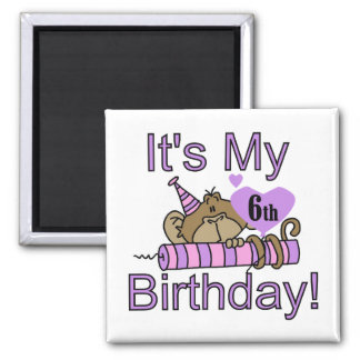 Girl Monkey 6th Birthday Tshirts and Gifts Magnet