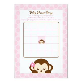Girl Monkey Baby Shower Bingo Cards