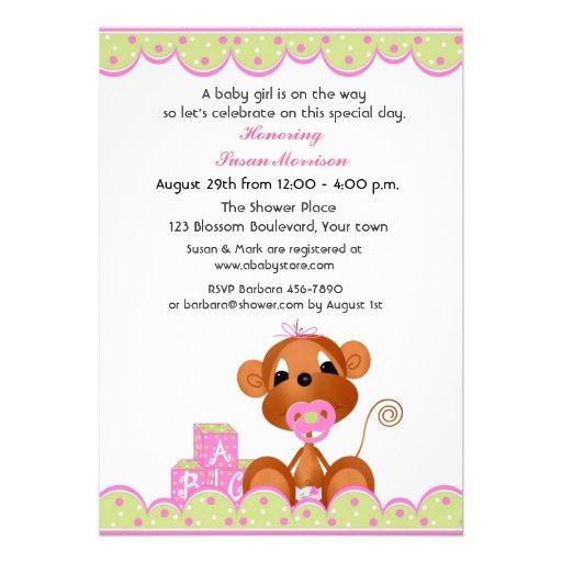 girl monkey baby shower 5x7 paper invitation card zazzle