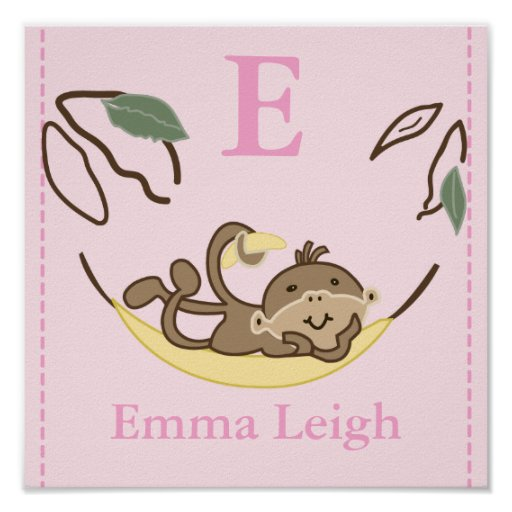 GIRL Monkey Business Nursery Room Baby Art Print