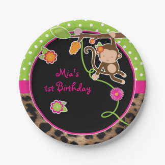 Girl Monkey Chic Safari Jungle Chic Party Plates