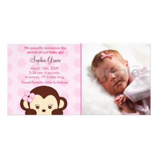 Girl Monkey Custom Photo Birth Announcements Photo Greeting Card