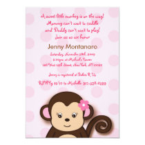 Girl Monkey Dots Custom Baby Shower Invitations