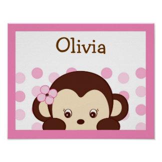 Girl Monkey Dots Personalized Name Art Print