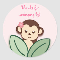 Girl Monkey Favor Stickers Envelope Seals