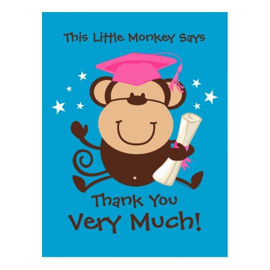 Girl Monkey Graduate Custom Postcard