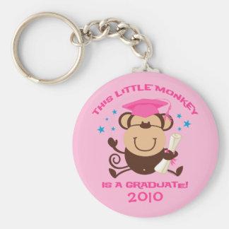 Girl Monkey Graduate Basic Round Button Keychain