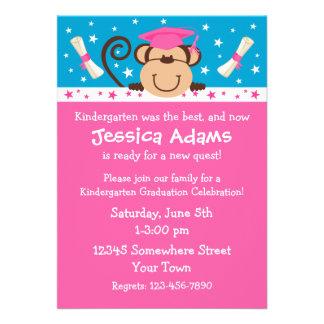 Girl Monkey Graduation Personalized Invites