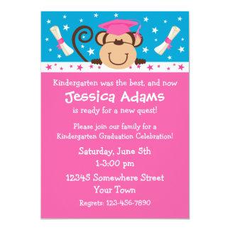 "Girl Monkey Graduation 5"" X 7"" Invitation Card"