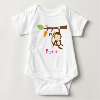 Girl Monkey Hanging in Tree Personalized Shirt