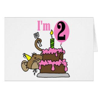 Girl Monkey I'm 2 Birthday Tshirts Greeting Card