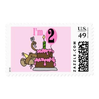 Girl Monkey I'm 2 Birthday Tshirts Postage Stamp