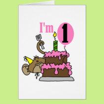 Girl Monkey I'm One Birthday Tshirts Card