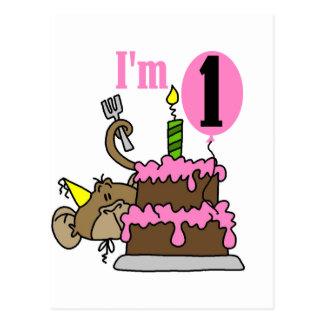 Girl Monkey I'm One Birthday Tshirts Postcard