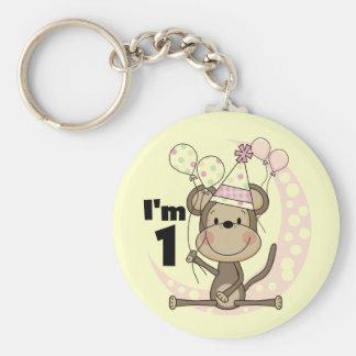 Girl Monkey in Party Hat 1st Birthday Basic Round Button Keychain