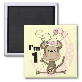 Girl Monkey in Party Hat 1st Birthday Magnet