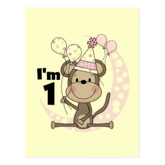 Girl Monkey in Party Hat 1st Birthday Postcard