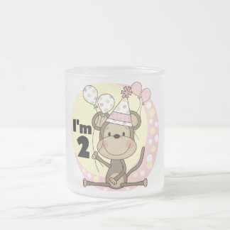Girl Monkey in Party Hat 2nd Birthday Frosted Glass Coffee Mug