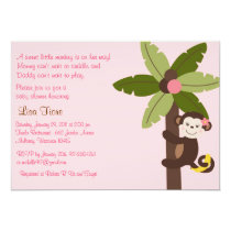 Girl Monkey Jungle Baby Shower Invitations