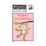 Girl Monkey Jungle Birthday Postage Stamps