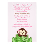 Girl Monkey Jungle Custom Baby Shower Invitation